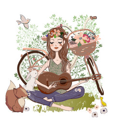 Cartoon young woman with guitar and bicycle vector