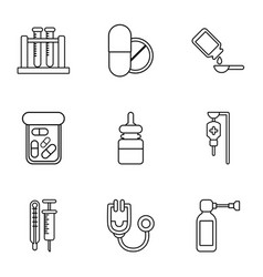 Chemical substance icons set outline style vector