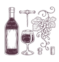 collection wine icons vector image