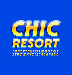colorful logo chic resort with glossy font vector image