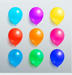 colorful shiny balloons on transparent background vector image
