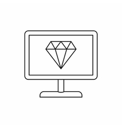 Computer monitor with a diamond icon outline style vector