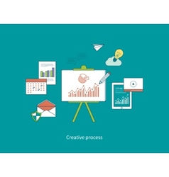 Concepts of creative process and data protection vector image