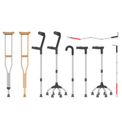 Crutches icon set realistic style vector