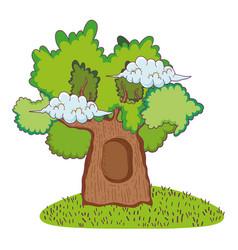 cute fairytale tree icon vector image