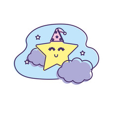 cute star with cloud in the sky design vector image