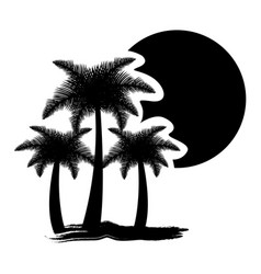 dark contour palms with sun icon vector image