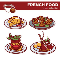 Delicious french food collection of vector