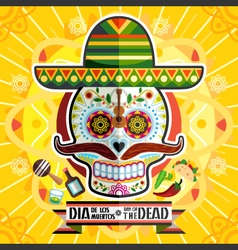 Dia de los muertos day of the dead skull vector