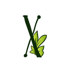 Doodling eco alphabet letter xtype with leaves vector