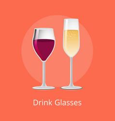 Drink glasses elite glassware expensive red wine vector