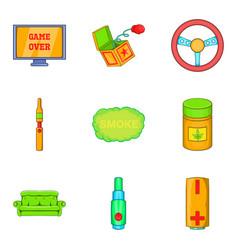 drug icons set cartoon style vector image