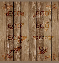 Eco signs bevels on wood vector