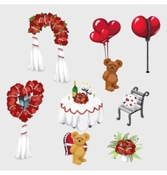 Elements of wedding decor roses and Teddy bear vector image