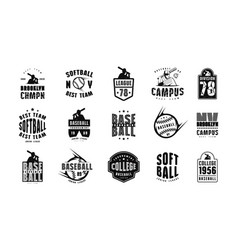 Emblems and badges set campus baseball team vector