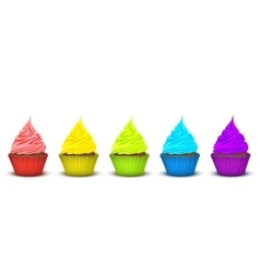 Five cupcakes bright supersaturated colors vector image