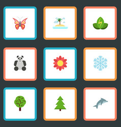 flat icons isle beach wood beauty insect and vector image
