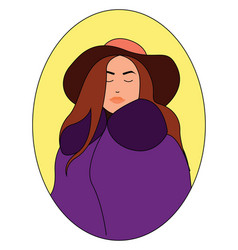 girl in purple coat on white background vector image