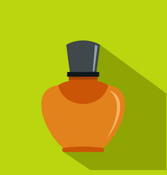 Glass bottle with perfume icon flat style vector
