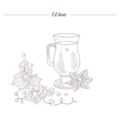 Glass Of Spiced Hot Wine Hand Drawn Realistic vector image