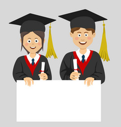 graduated teenager boy and girl with blank board vector image