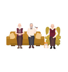 Group of smiling elderly men dressed in casual vector