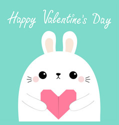 happy valentines day white rabbit hare puppy head vector image