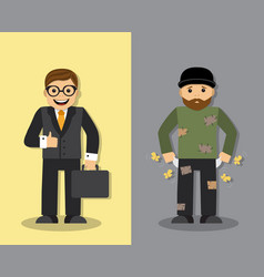 homeless and businessman vector image