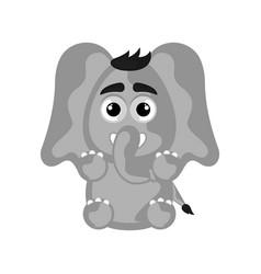 isolated cute happy elephant on white background vector image