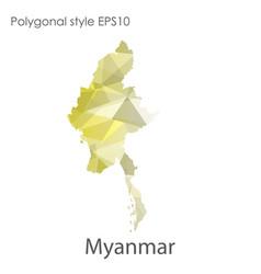 Isolated icon myanmar map polygonal geometric vector