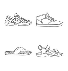 isolated object of shoe and footwear symbol set vector image
