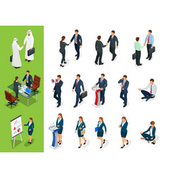 Isometric business characters poses handshake vector