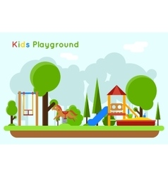 Kids playground flat concept background vector image