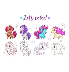 Let s color pony funny cute cartoon little chibi vector
