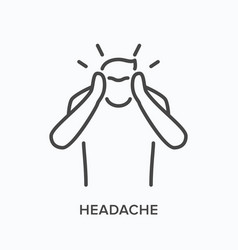 Man with headache line icon outline vector