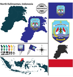 Map of North Kalimantan vector image