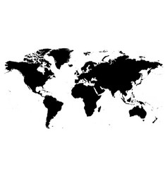 map of world black silhouette high vector image