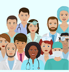 Medical staff male and female doctors healthcare vector