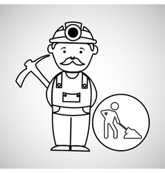 mine worker pickaxe icon design vector image
