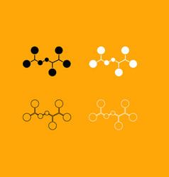 molecule set black and white icon vector image