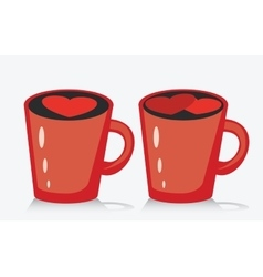 Mug of coffee or tea with heart vector image