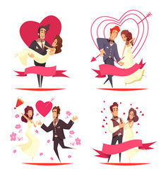 newlyweds cartoon design concept vector image