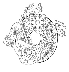 Number 0 coloring book for adults vector image