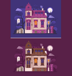 old haunted mansion or ghost house scene vector image