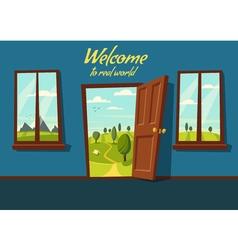 Open door Valley landscape Cartoon vector