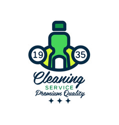 Original linear logo design with green detergent vector