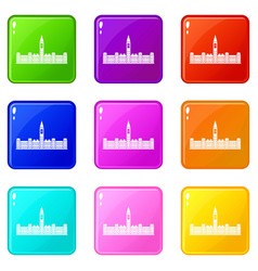 Parliament building of canada icons 9 set vector