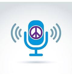 Peace propaganda icon with microphone conceptual vector