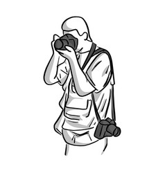 photographer shooting sketch hand vector image