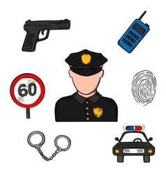 Policeman in uniform and police icons vector